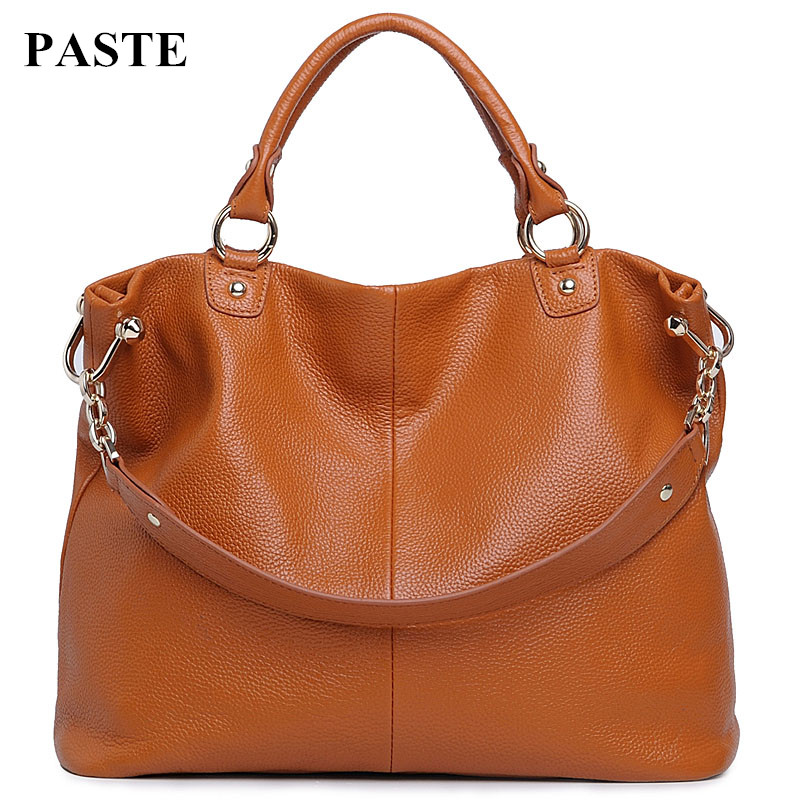 ФОТО Hot Style Genuine Leather Chain Fashion Bag Women First Layer of Cowhide Casual One Shoulder Bag Cross-body Bag Luxury Totes