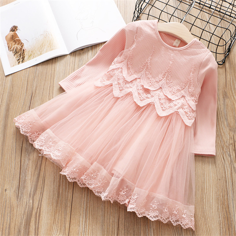 2-7 year girls dress 2018 spring autumn new fashion solid lace princess dress kid children dress girls clothes girls clothing azel elegant latest new child dress for 2 3 year old girls vestidos fashion summer kid clothing little girls daily clothes 2017