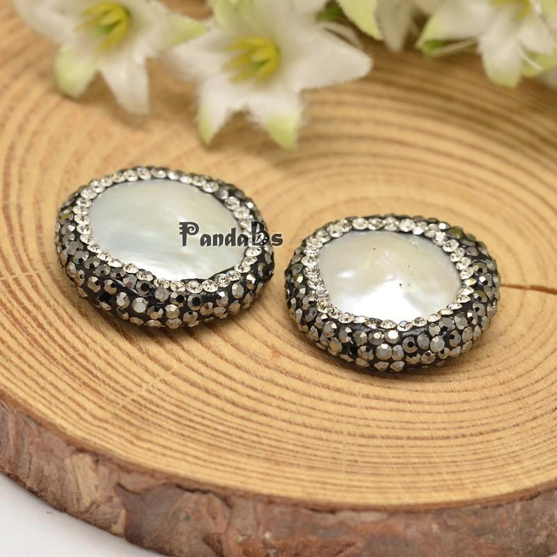 Flat Round Shell Pearl Beads, with Polymer Clay Rhinestones, White, 21~26x6mm, Hole: 1mm(China (Mainland))