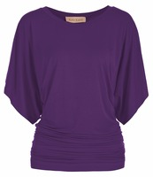 Women Half Sleeve Kimono Dolman Sleeve Round Neck Shirring T Shirt O Neck Empire Waist Purple