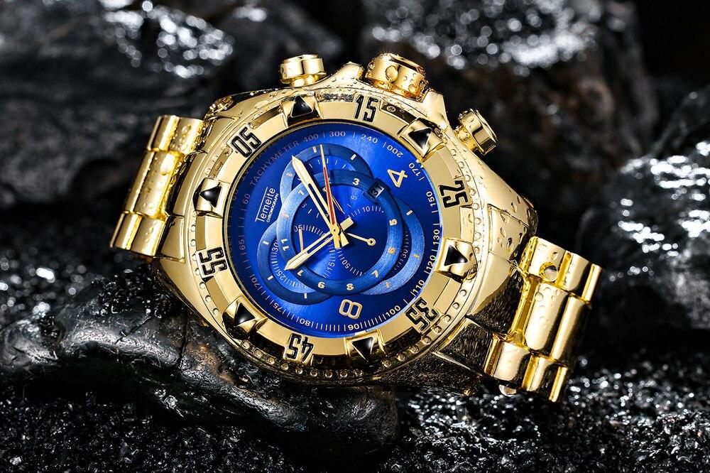 a116b2c7473 ... ouro de luxo 316L aço inoxidável dos homens de quartzo relógios de  pulso à prova d  água calendário relógios de marca masculina. 09 01 03 ...