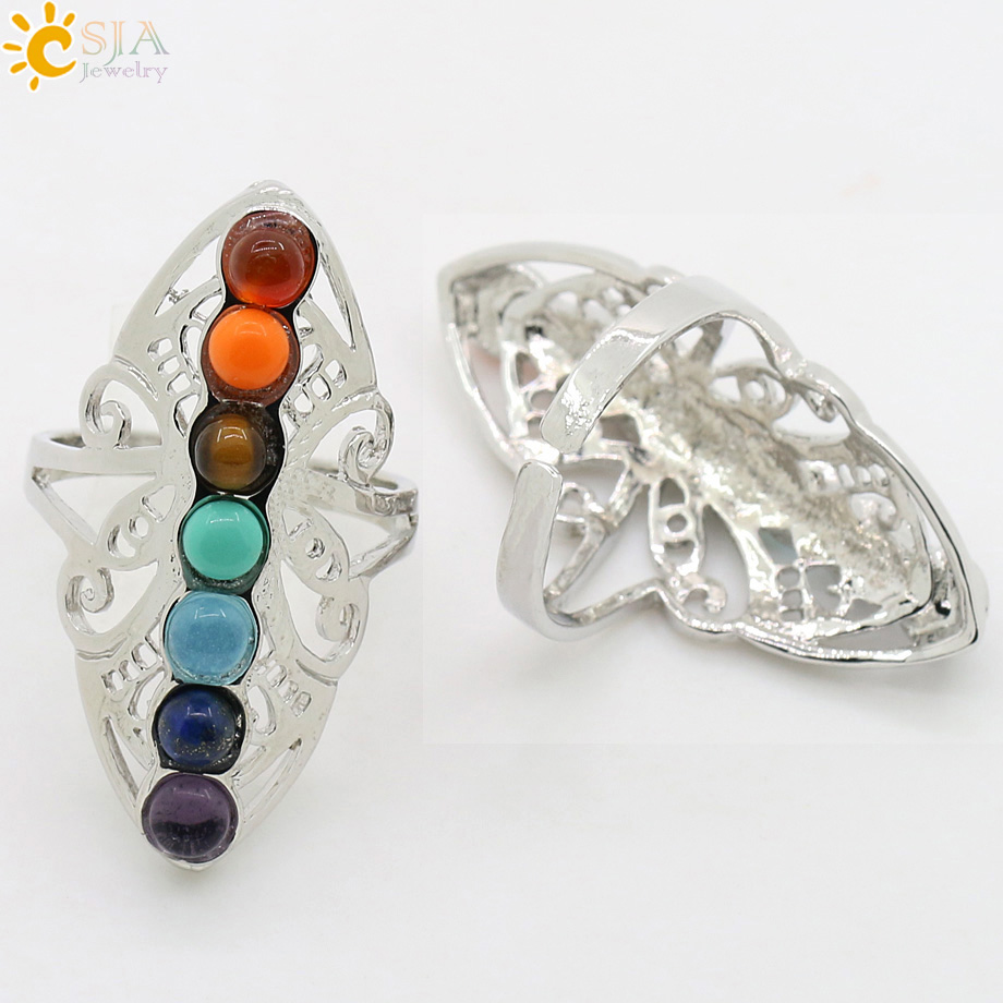 CSJA 7 Chakra Batu Manik Jari Cincin Reiki Balance Meditasi - Perhiasan fashion - Foto 5