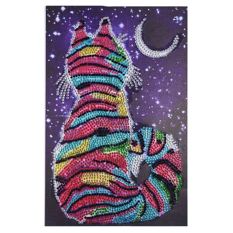 Diy 5D Diamond Painting Colorful Cat Partial Special Shaped Rhinestone Embroidery Diamond Cross Stitch Needle Festival Gift(China)