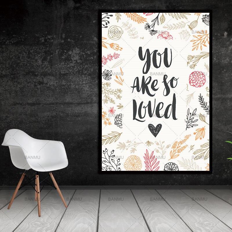 Dopis, jsi tak milovaný Skandinávské abstraktní nástěnné obrazy Obývací pokoj Umělecká dekorace Obrázky Skandinávská malba na plátně bez rámečku