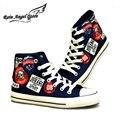 Печати Джинсовые Обувь Кружева Мужская Обувь Синий Холст Обувь Высокие Вершины Студент Обувь Летняя Дышащий Размер 9