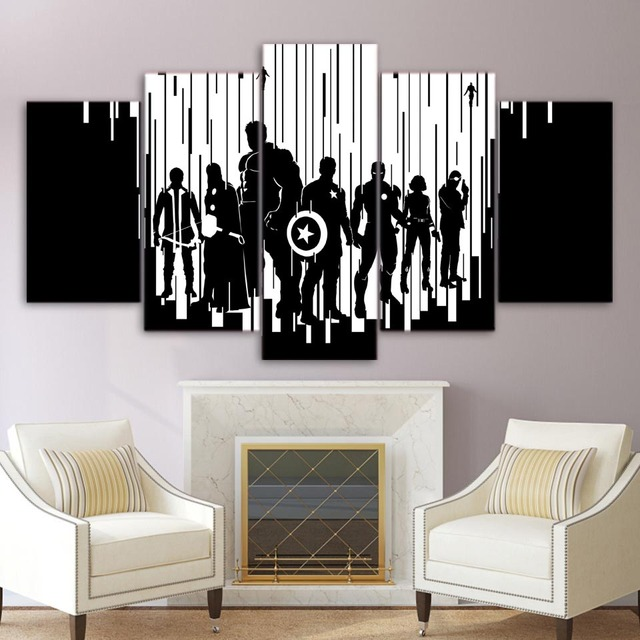 Home Decor Living Room Modular Picture 5 Panel Avengers Age Of Ultron Movie Comic Frame Wall Art Painting Hd Print Canvas Poster