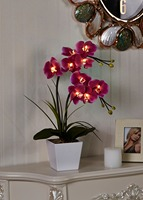 Free Shipping 20 50cm LED Blossom Orchid Flower Light 9PCs WarmLED With 2 AA Battery Pot