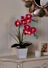 Бесплатная Доставка 20 «(50 см) LED Blossom Цветок Орхидеи Свет 9 Шт. WarmLED с 2 * AA батареи банк, 9 Цветок Орхидеи Цветы с бутонами