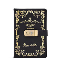 travel business a6 A5 PU leather diary book password lock personal secret journal diary office school stationery notebook green