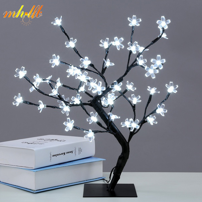 Mini LED Crystal Cherry Blossom Tree Light Night Lights Table Lamp Christmas Fairy Wedding Decoration Indoor Lighting Luminarias led battery plum blossom flower tree night light adjustable waterproof atmosphere decorative lamp bedroom wedding holiday light