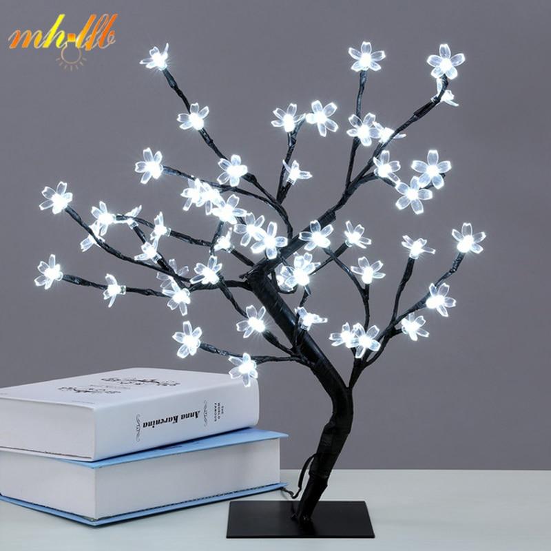 Mini LED Crystal Cherry Blossom Tree Light Night Lights Table Lamp Christmas Fairy Wedding Decoration Indoor Lighting Luminarias