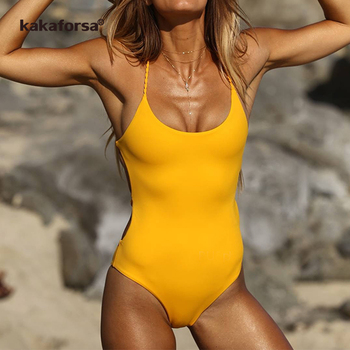 Yellow Backless One Piece Monokini 2