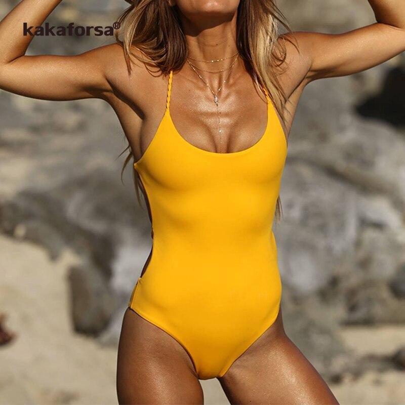 aecd1fa5a15e Kakaforsa New Sexy Yellow Backless One Piece Swimsuit Women Padded Swimwear  Bandage Solid Bikini Bathing Suit Monokini Swim Wear-in Body Suits from  Sports ...