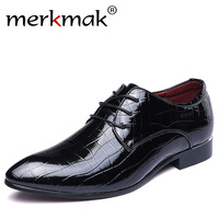 Merkmak 2017 Men Shoes Oxfords PU Leather For Men Wedding Bussiness Formal Party Shoes Chaussure Homme