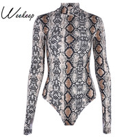 Weekeep New Ladies Serpentine Long Sleeve Sexy Clubwear Bodysuits Skinny Jumpsuits For Women 2017 Crewneck Rompers