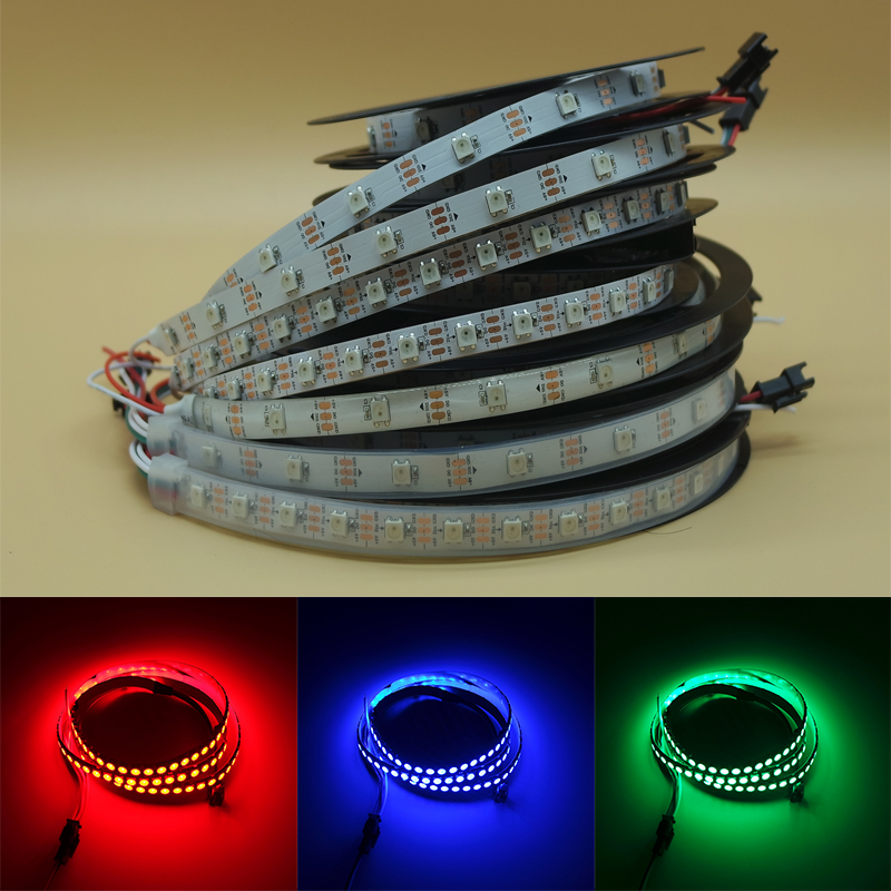 DC 5V 12V WS2811 WS2812B WS2812 IC SMD 5050 Digital RGB Strip Waterproof Dream Magic Full Color Led Strip Light 30LED  60led