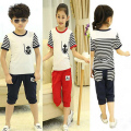 kids clothes 5- 12 years 2017 new children sports suit boys summer set girls casual striped anchor t-shirt + pants