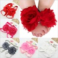 Infant First Walker Baby Girls Headband foot flowers set Newborn soft Crib Shoes baby headwear 9 colors