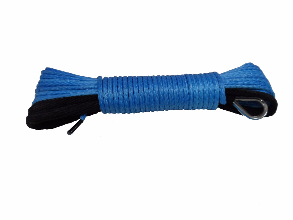 Blue 4mm*15m ATV Winch Line with Sheath,Synthetic Winch Rope for Electric Winches,Off Road Rope