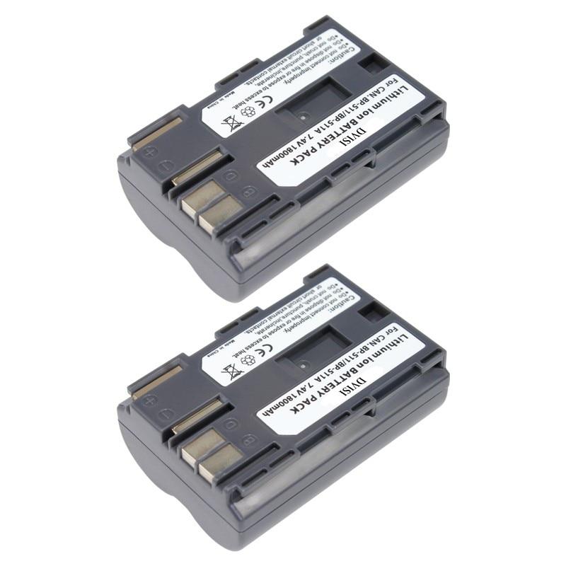 2Pcs/lot 7.4V 1.8Ah <font><b>BP</b></font>&#8211;<font><b>511A</b></font> <font><b>Batteries</b></font> <font><b>BP</b></font> <font><b>511A</b></font> BP511 A 511 Camera <font><b>Battery</b></font> For Canon EOS 300D 10D 20D 30D 40D 50D D30 D60 5D G6