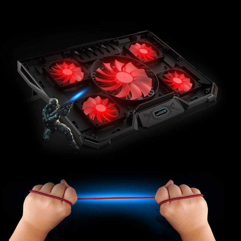 купить 5 Fans 2 USB LED Cooling Pad Adjustable Stand Base For Notebook Laptop PC 10-17 недорого