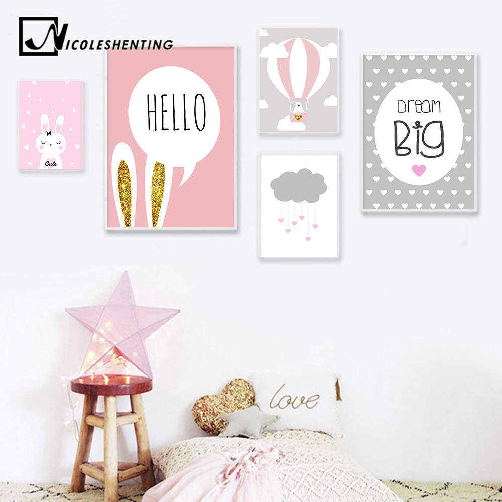 Baby Girl Nursery Wall Art Canvas Poster Print Pink Cartoon Rabbit Balloon Painting Nordic Decoration Picture Kids Bedroom Decor