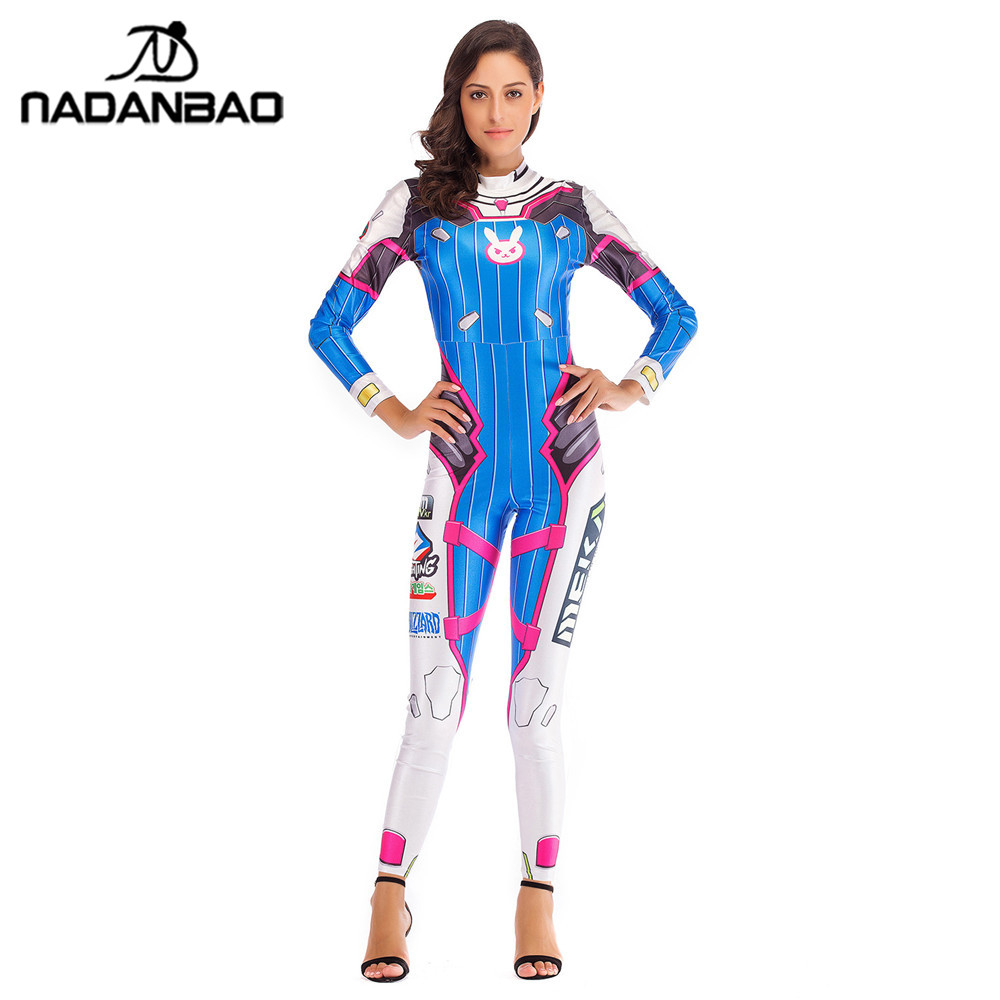 NADANBAO OW Hero DVA Costume Cosplay Anime Jumpsuit Halloween Costumes For Women Plus Size Bodysuit