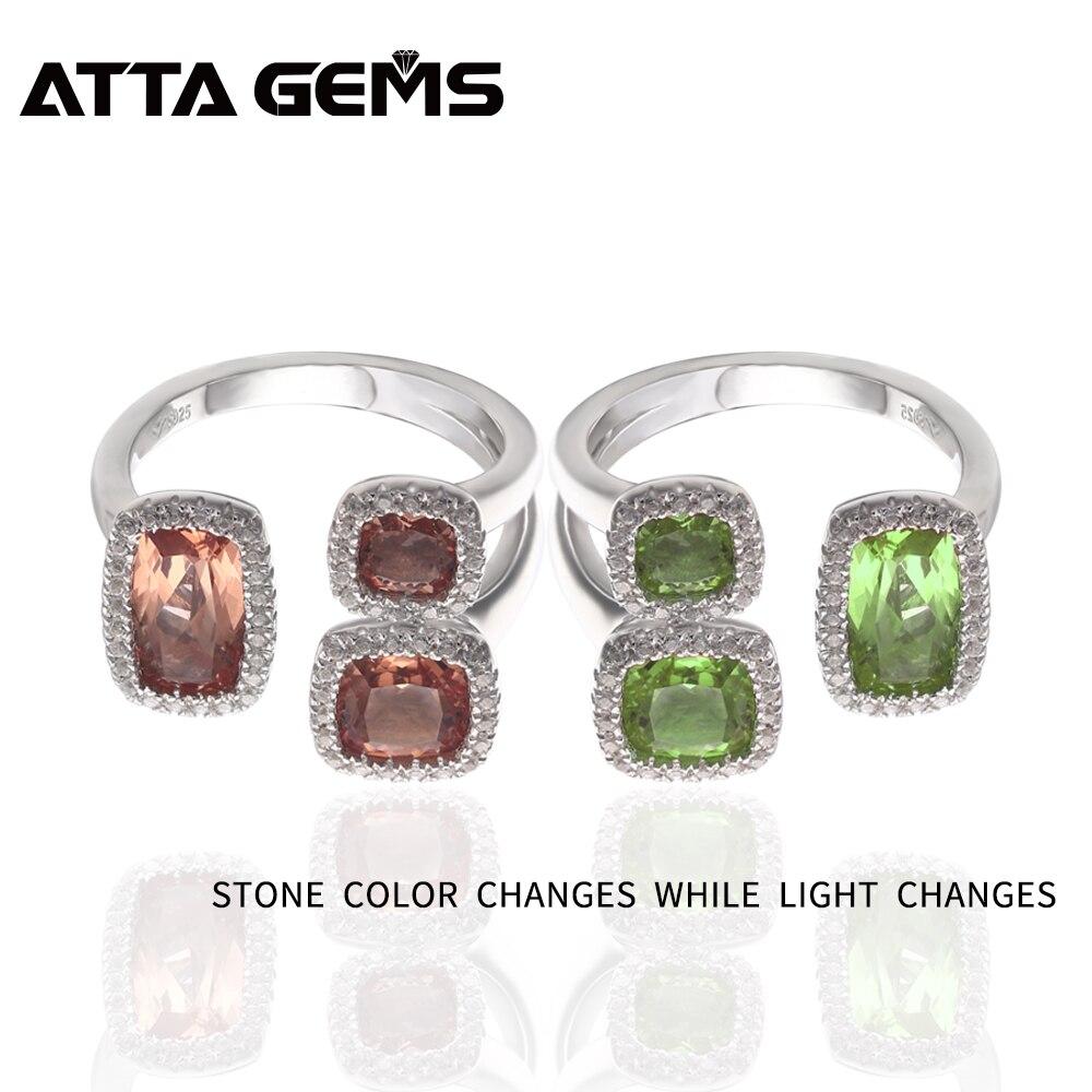 Zultanite bague en argent Sterling unisexe Design 7 Carats face créée Zultanite pierre couleur change de Style spécial Design pour cadeau - 2