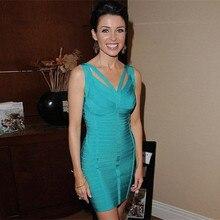 Hohe Qualität Blau Kreuzmuster-Strap Cocktail Bandage Kleid Promi Party Kleider