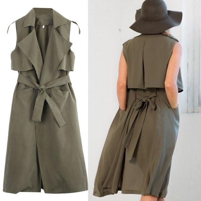 2016 Ladies Double Layerd Long Duster Jacket Womens Sleeveless Waistcoat Belt Blazer Wholesale