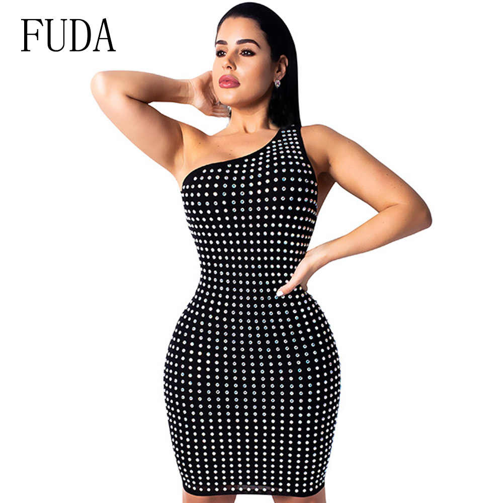 1b918e93adc FUDA Sparkly Rhinestone Sexy Bandage Irregular Dress Women One Shoulder  Backless Party Club Bodycon Dress Femme