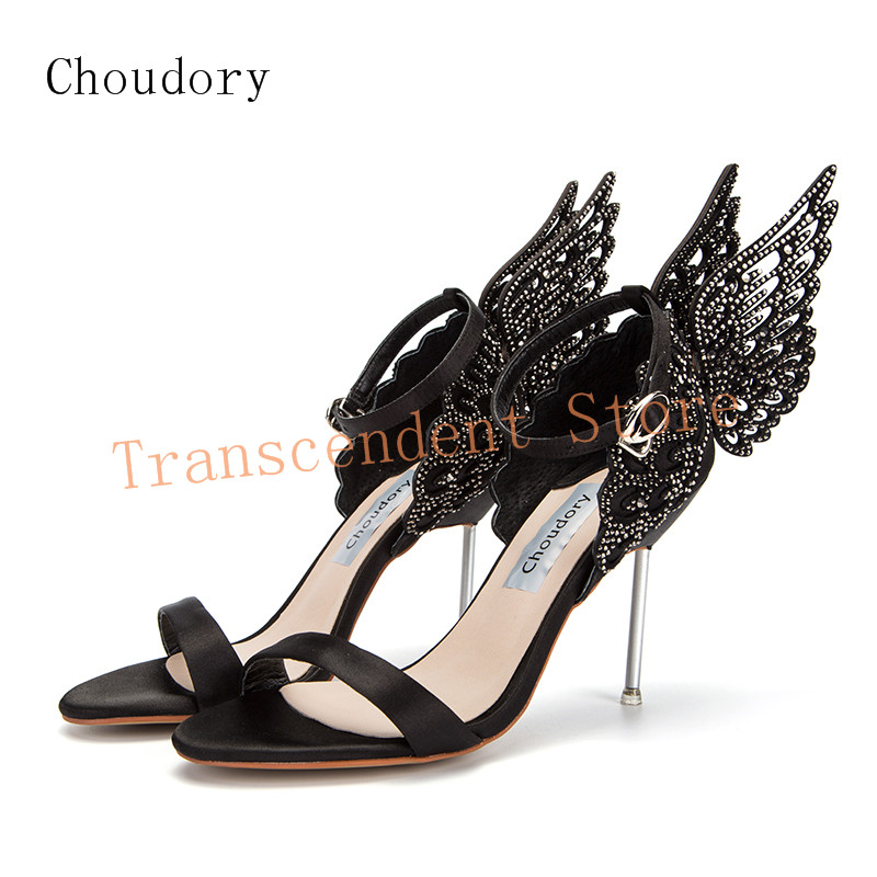 Choudory High Heels Women Party Shoes Butterfly Crystal Decorated Sandals Summer Fashion Genuine Leather Stiletto Women Shoes