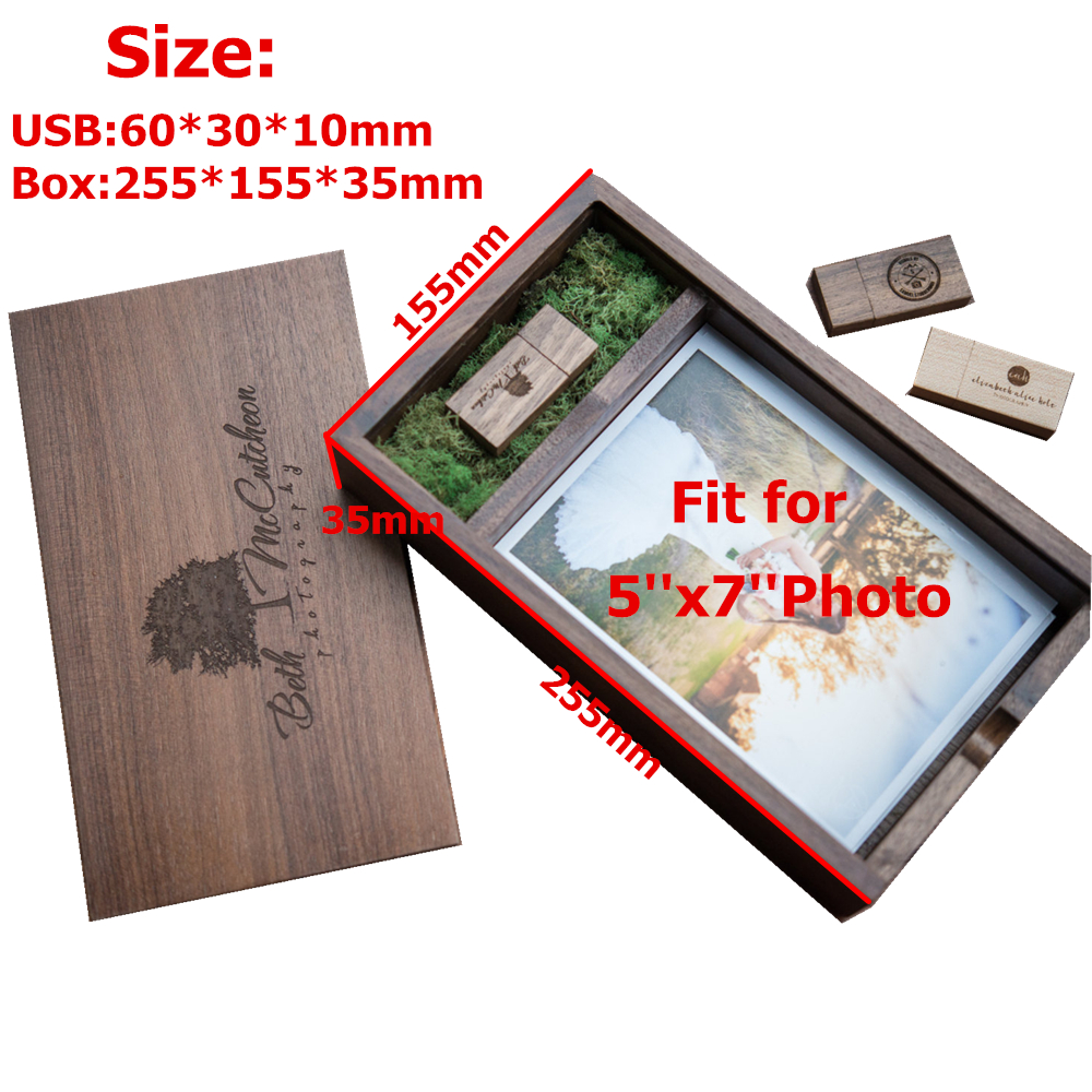 New Wooden Photo Album Box  Prints 5 7inch  USB 3 0 Flash Pendrive DIY Engraved Logo Wedding Memory Photography Studio