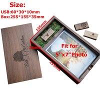 New Wooden Photo Album Box (Prints 5*7) USB 3.0 Flash Pendrive DIY Engraved Logo Wedding Memory Photography Studio