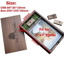 New wooden photo album box (Prints 5*7 inch) USB 3.0 flash pendrive DIY engraved LOGO wedding memory photography studio