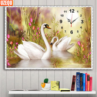 UzeQu 60X45CM Diamond Painting Swan Wall Clock Diamond Painting Cross Stitch Living Room Rhinestone Watch Diamond