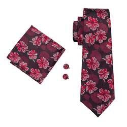 DiBanGu красные, черные цветочные галстуки для Для мужчин с Ханки Запонки Набор 100% шелк шеи галстук для Для мужчин формальные свадебные Cravatte