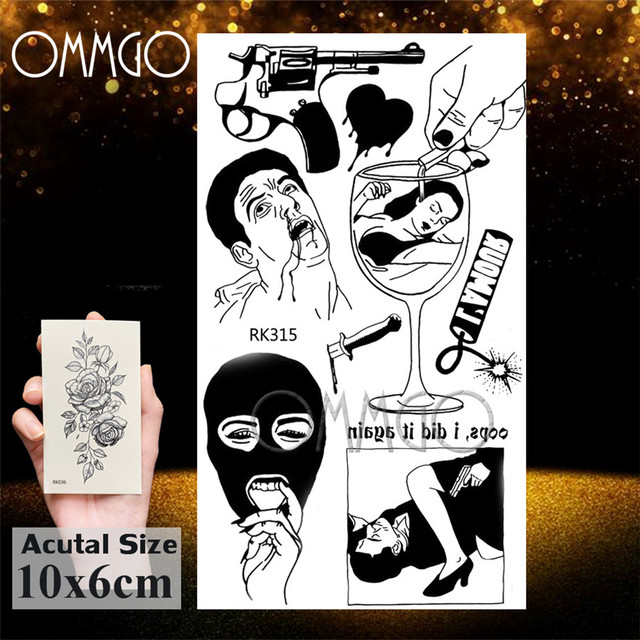 OMMGO Black Love Minimalist Adults Temporary Tattoos Sticker Small Fake Tattoo Gun Custom Tatoos For Women Sexy Body Art Arm 3