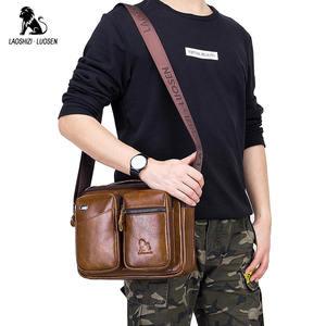 Image 2 - LAOSHIZI Bolso de hombro de cuero genuino bolsos cruzados para hombre bolsa cruzada