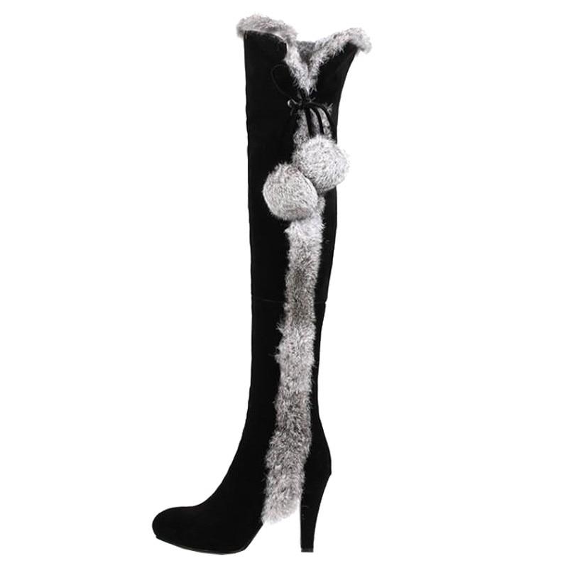 Tacón De Nieve Mujeres Gamuza Delgada Invierno El Rodilla Botas Pelo Zapatos Del Piel As Puntiagudo 18aw Pie Las Conejo Sexy Dedo Caballero Encima Show Por La Alto ZdZqg0
