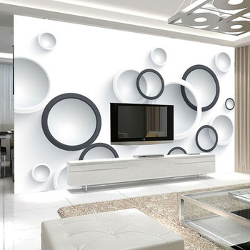 Custom 3D Stereo Mural Wallpaper Modern Black And White Circles Photo Wall Paper Office Study 3D Room Landscape Wall Cloth Decor
