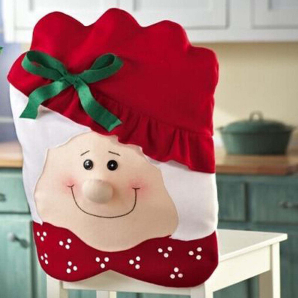 1pcs Lovely Mrs Santa Claus Christmas Party Diner Dining Room Table Chair Cover Home Decorations Santa Granny Chairs Coverings