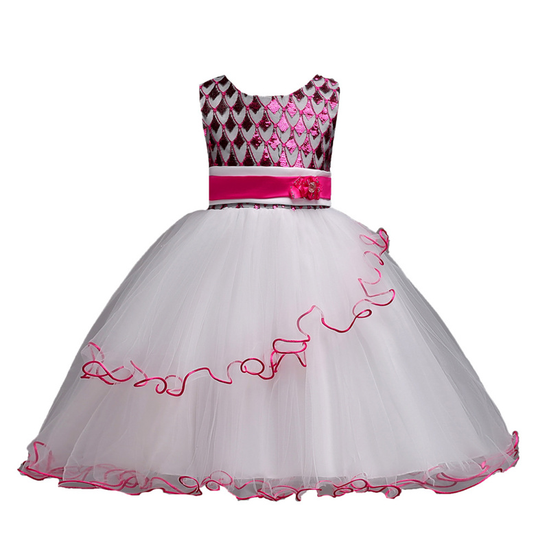 Meninas Vestem Miúdos Bonitos Sequins da Festa de Casamento Vestidos Para Meninas vestido de Baile Da Princesa