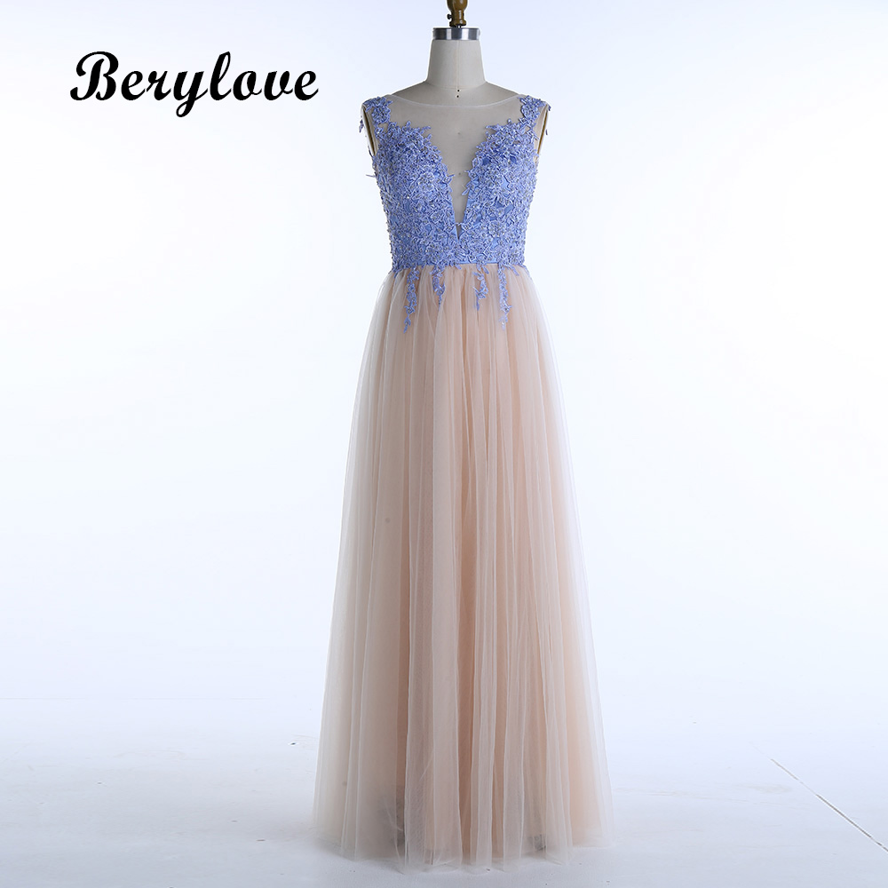 BeryLove Long Lace Tulle Evening Dresses 2018 Backless Evening Gowns ...