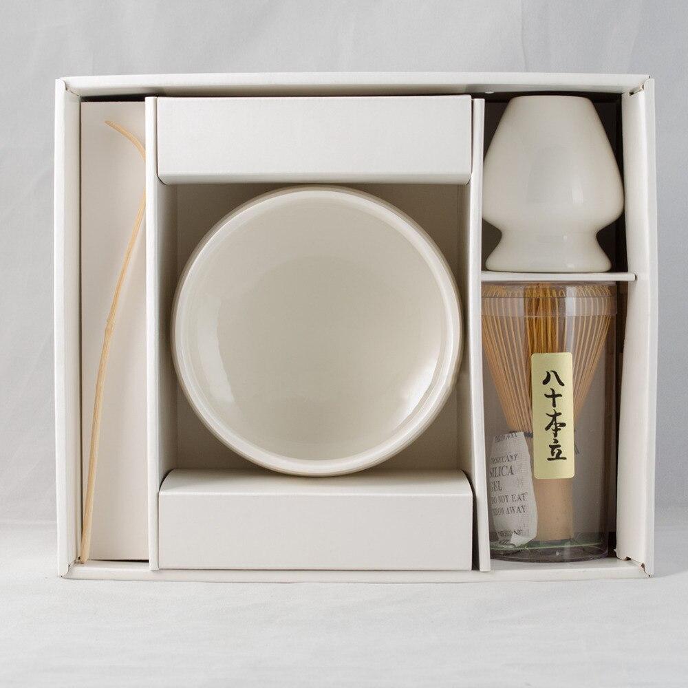 Super 4in1 blanco imaginativos pretender de té verde Matcha herramientas de Matcha de japonés hecho a mano de bambú Chasen batidor y titular de Scoop-in Sets de juegos de té from Hogar y Mascotas    1