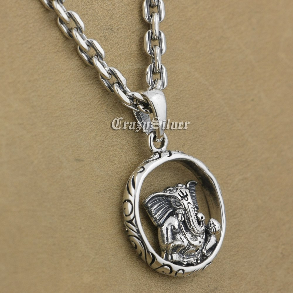 925 Sterling Silver Buddha Elephant Mens Biker Round Pendant 9V112 925 Sterling Silver Necklace 24 solid 925 sterling silver skull mens biker pendant 8c011 with matching stainless steel necklace
