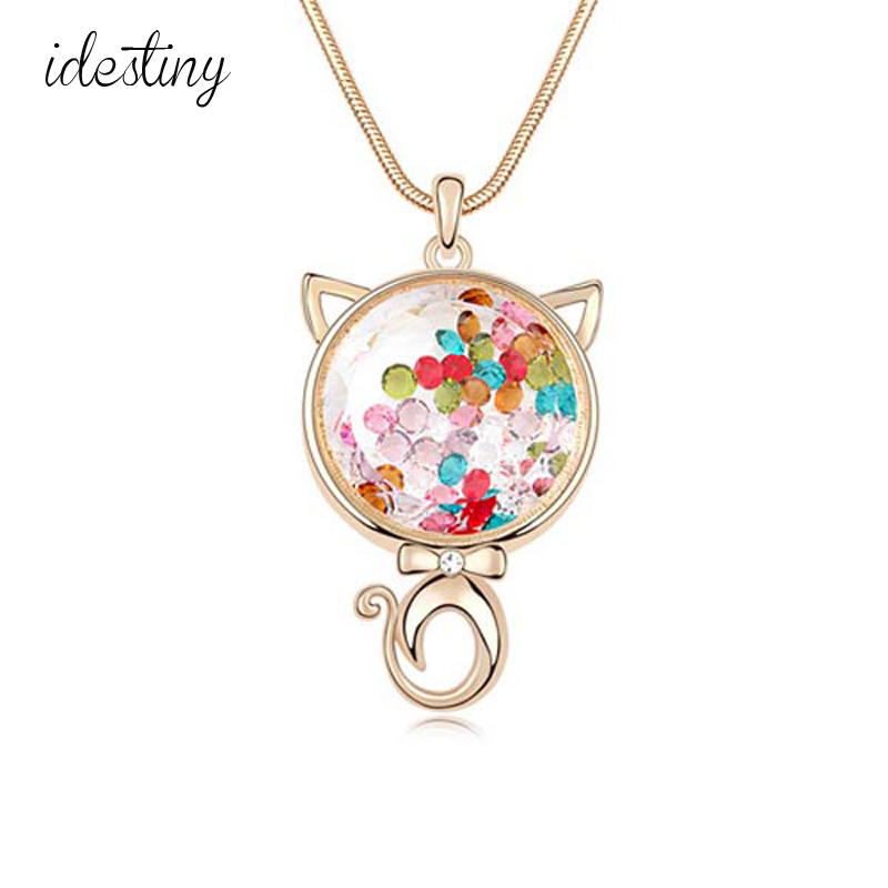 lovely cat designs for ladies accesorios para mujer collares mujer de moda with genuine Austrian crystal