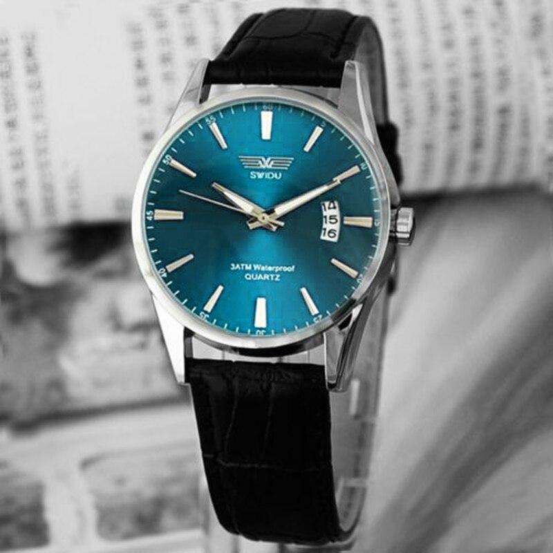 21145c11b1 CreativeClassic Moda Luksusowe Czarny Skórzany Pasek Kalendarz Kwarcowy  Mężczyzna Data Wrist WatchBraceletWatchCasual