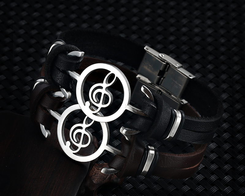 Stainless steel Music Leather Bracelets with Treble Clef IMG_0121