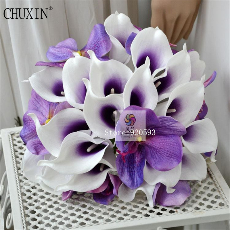 21pcs Lot Natural Real Touch Flowers White Dark Purple Pink Calla Lily